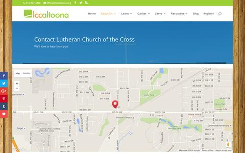 Screenshot of Contact Page Maps & Directions Page lccaltoona.org - Contact Lutheran Church of the Cross - Lutheran Church of the Cross - Altoona, Iowa - captured June 23, 2016