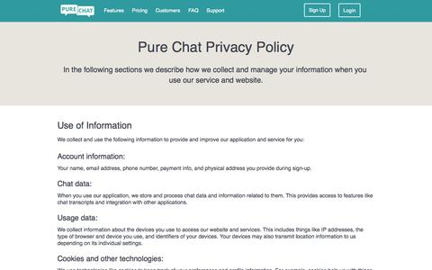 Screenshot of Privacy Page purechat.com - Free Live Chat Software for Websites   Privacy - captured Nov. 18, 2015