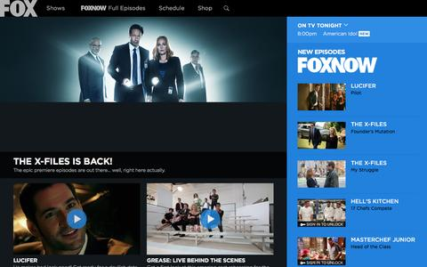 Screenshot of Home Page fox.com - FOX Broadcasting Company | Full Episodes, Shows, Schedule - captured Jan. 27, 2016