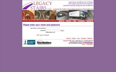 Screenshot of Login Page legacystairs.com - User Login - captured Oct. 2, 2014