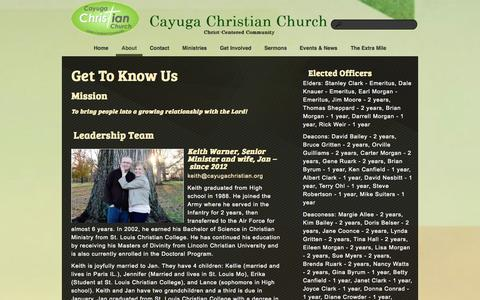 Screenshot of About Page cayugachristian.org - About «  Cayuga Christian Church - captured Oct. 2, 2014
