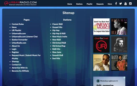 Screenshot of Site Map Page urbanradio.com - Sitemap - UrbanRadio.com - captured Oct. 19, 2018