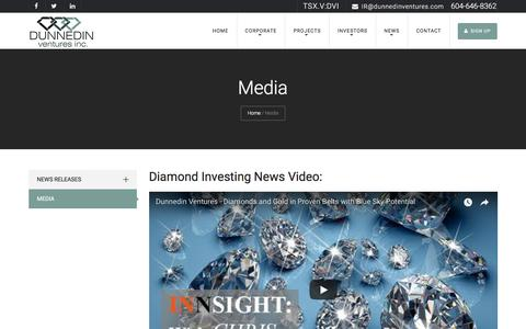 Screenshot of Press Page dunnedinventures.com - Media - Dunnedin Ventures Inc, Diamond Mines, Mining in Canada, Canadian Mining Companies - captured Oct. 19, 2017