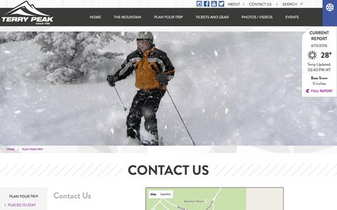 Screenshot of Contact Page terrypeak.com - Terry Peak Ski Area Contact Us | Terry Peak Ski Area - Ski and Snowboard Resort in the Northern Black Hills of South Dakota - captured June 13, 2016
