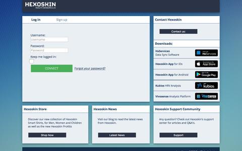 Screenshot of Login Page hexoskin.com captured Oct. 7, 2019