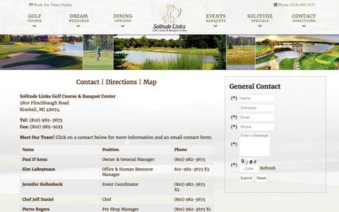 Screenshot of Contact Page Maps & Directions Page solitudelinksgolf.com - Solitude Links Golf Course & Banquet Center | Kimball, MI - Contact & Directions - captured Jan. 3, 2017