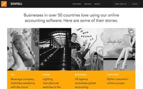 Screenshot of Case Studies Page saasu.com - Customer Stories - Saasu - Online Accounting Software - captured Sept. 18, 2014