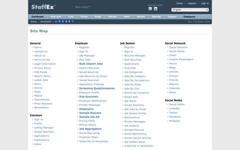 Screenshot of Site Map Page staffex.co - Find Jobs Online - StaffEx™ Employment Portal & Social Network: Site Map - captured Oct. 7, 2014
