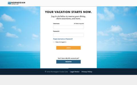 Screenshot of Login Page ncl.com - Cruises & Cruise Deals | Caribbean Cruise Vacations | Norwegian Cruise Line - captured Jan. 14, 2020