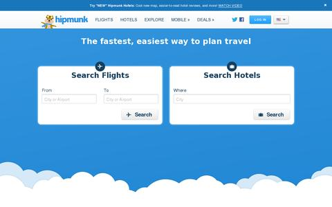 Screenshot of Home Page hipmunk.com - Cheap Flights, Cheap Hotels, and Travel Search | Hipmunk - captured July 11, 2014