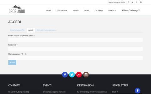 Screenshot of Login Page orobiando.com - Accedi   Orobiando - captured May 10, 2017