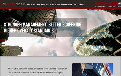 Screenshot of Home Page thepremiergroupus.com - The Premier Group | Staffing, Construction, Accounting, Finance, IT - captured Dec. 11, 2015