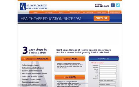 Screenshot of Home Page saintlouishealthcareers.com - The Official Site of St. Louis College of Health Careers | Saint Louis College of Health Career, MO, Fenton, MO | Medical Assistant Programs | Medical Billing and Coding courses | Pharmacy Technician School | Medical Office Administration Classes | P - captured Jan. 26, 2015