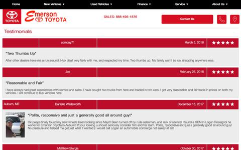 Screenshot of Testimonials Page emersontoyota.com - Customer Reviews, Testimonials - Emerson Toyota - captured July 18, 2018