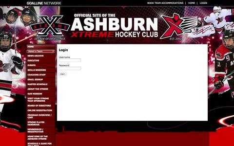 Screenshot of Login Page goalline.ca - Ashburn Xtreme Hockey Club powered by GOALLINE.ca - captured Sept. 23, 2014