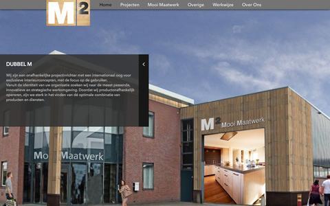 Screenshot of Home Page dubbelm.nl - Dubbel M Interieurbouw en Projectinrichting - captured June 18, 2015