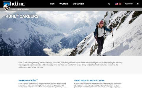 Screenshot of Jobs Page kuhl.com - KÜHL Clothing Job Opportunities | Born in the Mountains - captured Sept. 1, 2018