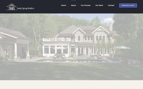 Screenshot of About Page sandyspringbuilders.com - About Sandy Spring Builders | Bethesda, MD - captured Dec. 21, 2015