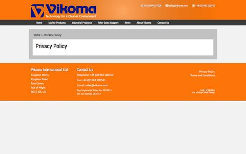 Screenshot of Privacy Page vikoma.com - Privacy Policy - captured Oct. 9, 2014