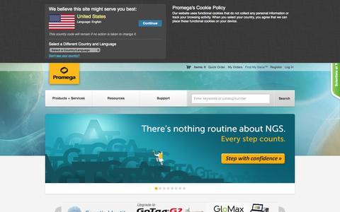 Screenshot of Home Page promega.com - Promega Corporation - captured Oct. 1, 2015
