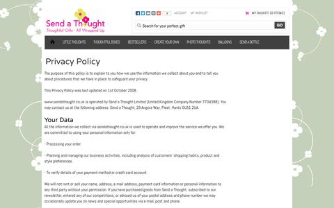 Screenshot of Privacy Page sendathought.co.uk - Send A Thought | Privacy Policy - captured Oct. 9, 2014