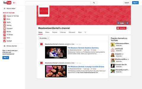 Screenshot of YouTube Page youtube.com - MeadowtownDental's channel  - YouTube - captured Oct. 23, 2014
