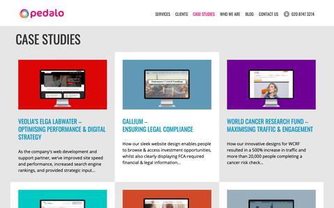Screenshot of Case Studies Page pedalo.co.uk - Web Design Agency Client Case Studies | Pedalo - captured Sept. 27, 2018