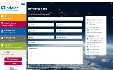Screenshot of Contact Page indelec.com - Contactez-nous - Indelec - captured July 26, 2018