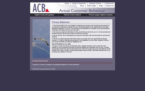 Screenshot of Privacy Page acbuk.net - ACBUK - Actual Customer Behaviour - Legal Information - captured Oct. 4, 2014