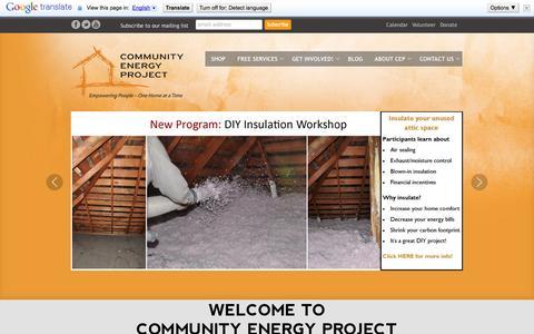 Screenshot of Home Page communityenergyproject.org - Home - Community Energy Project - captured Oct. 8, 2014
