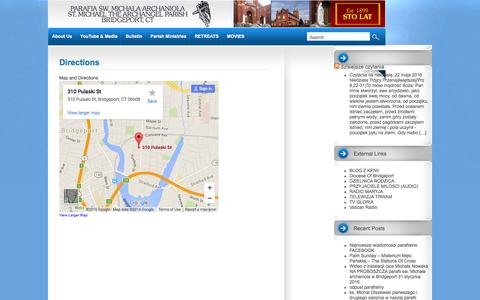 Screenshot of Maps & Directions Page smaparish.com - St. Michael the Archangel Church - Bridgeport CT - captured May 22, 2016