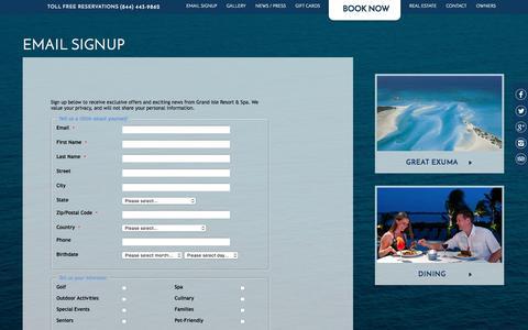 Screenshot of Signup Page grandisleresort.com - Bahamas Hotels Exuma | Grand Isle Resort - Sitemap - captured Jan. 17, 2016