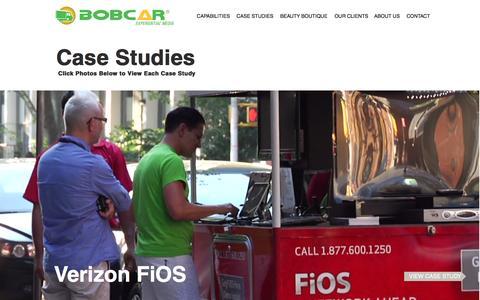 Screenshot of Case Studies Page bobcarmedia.com - BobCar Media - Experiential Marketing Agency | Case Studies - captured Nov. 23, 2016