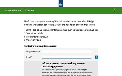 Screenshot of Contact Page antennebureau.nl - Contact | Antennebureau - captured July 30, 2018