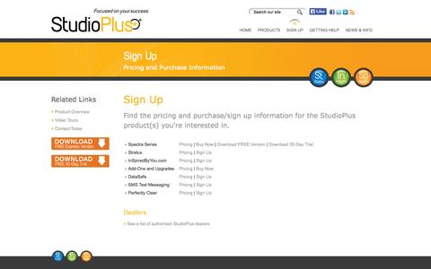 Screenshot of Signup Page studioplussoftware.com - Sign Up | StudioPlus Software - captured Sept. 19, 2014
