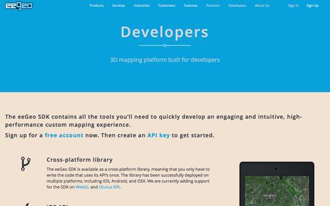 Screenshot of Developers Page eegeo.com - Developers - eeGeo - captured Dec. 4, 2015