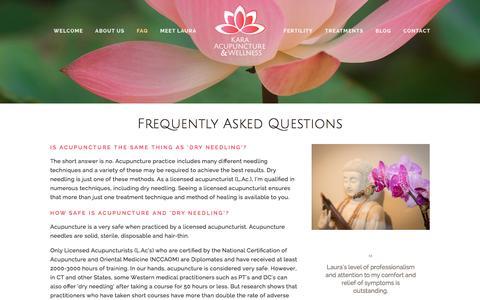 Screenshot of FAQ Page aculaura.com - FAQ — Kara Acupuncture & Wellness - captured Jan. 26, 2016