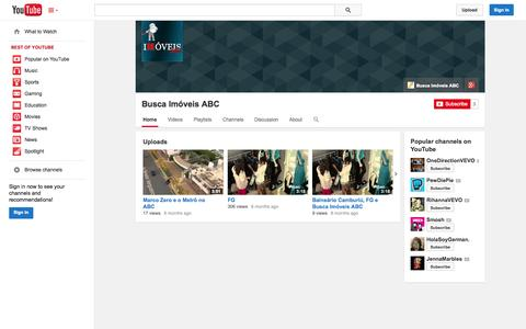 Screenshot of YouTube Page youtube.com - Busca Imóveis ABC  - YouTube - captured Oct. 23, 2014