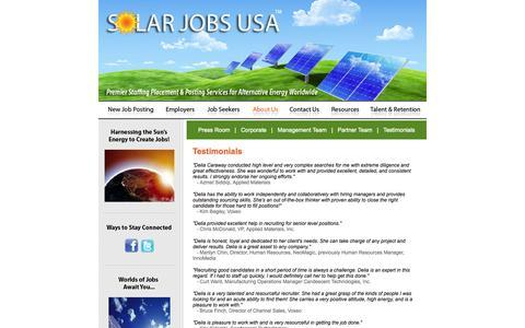 Screenshot of Testimonials Page solarjobsusa.com - Solar Jobs USA :: Testimonails - captured Oct. 26, 2014