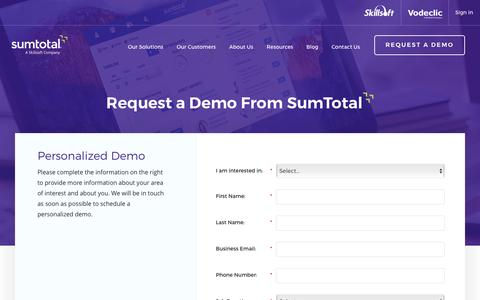 Screenshot of Demo Page sumtotalsystems.com - LMS Demo | Talent Management Demo | SumTotal - captured May 4, 2016