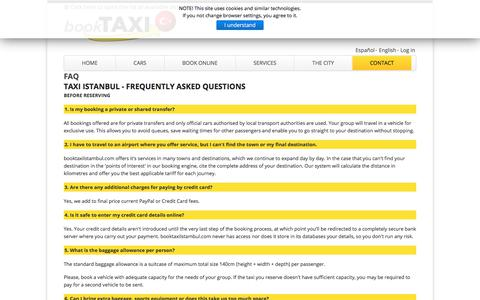 Screenshot of FAQ Page booktaxiistanbul.com - Book Taxi Istanbul - FAQ - captured Jan. 30, 2018