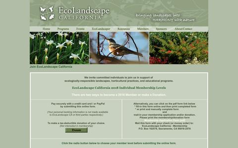 Screenshot of Signup Page ecolandscape.org - EcoLandscape California - captured Sept. 27, 2018