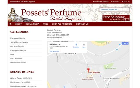 Screenshot of Support Page possets.com - Contact Us : Possets Perfume Oils, Possets Perfume Oils are Bottled Happiness - captured Aug. 22, 2016