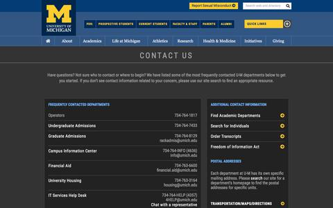 Screenshot of Contact Page umich.edu - Contact › University of Michigan - captured Nov. 6, 2019
