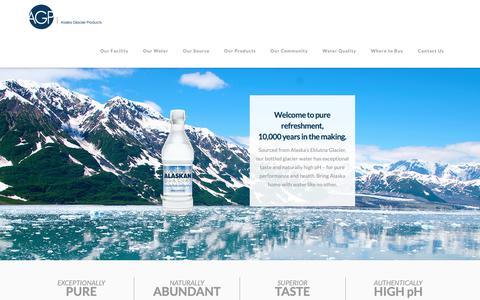 Screenshot of Home Page alaskaglacier.com - Home | Alaska Glacier Products | Premium Drinking Water - captured Sept. 27, 2018