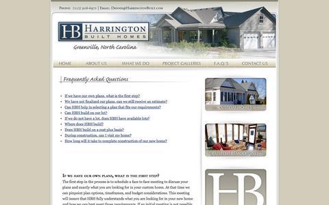 Screenshot of FAQ Page harringtonbuilt.com - Harrington Built Homes Greenville, NC - captured Jan. 26, 2016