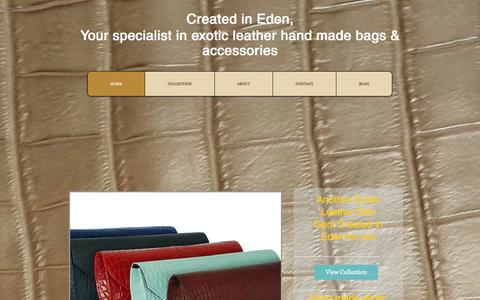 Screenshot of Home Page createdineden.biz - Created in Eden, hand made handbags, exotic leather bags - captured Sept. 30, 2014