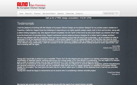 Screenshot of Testimonials Page alnosf.com - Testimonials - ALNO San Francisco - captured Oct. 4, 2014