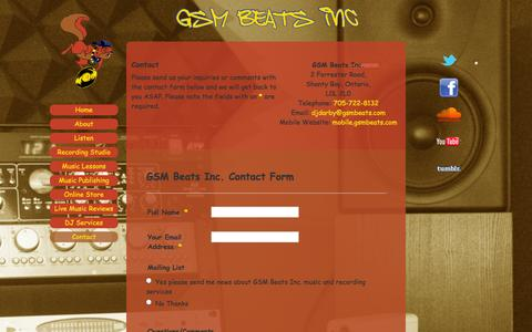 Screenshot of Contact Page gsmbeats.com - Contact | GSM Beats Inc. - captured Oct. 1, 2014