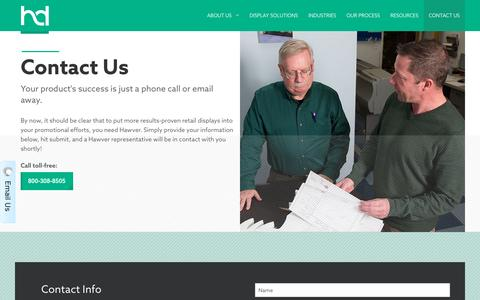 Screenshot of Contact Page hawver.com - Contact Us | Hawver Display - captured Nov. 1, 2016